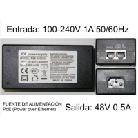 Inyector PoE 48V, 0.5A Power over Ethernet genérico