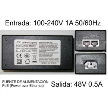 Inyector PoE 48V, 0.5A Power over Ethernet genérico