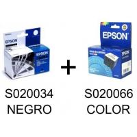 Pack 2 Cartuchos tinta NEGRO+COLOR EPSON Stylus PRO SL S020034 + S020066